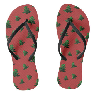 Sparkly Christmas tree green sparkles pattern red Flip Flops