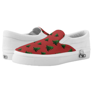 Sparkly Christmas tree green sparkles pattern red Slip On Shoes