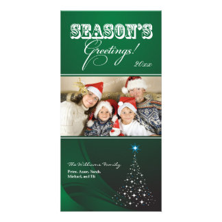 Sparkly Christmas Tree Holiday Photocard (green) Photo Greeting Card