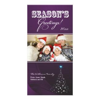 Sparkly Christmas Tree Holiday Photocard (purple) Custom Photo Card