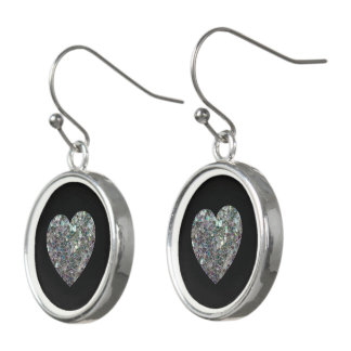 Sparkly colorful silver mosaic Heart Black Drop Earrings