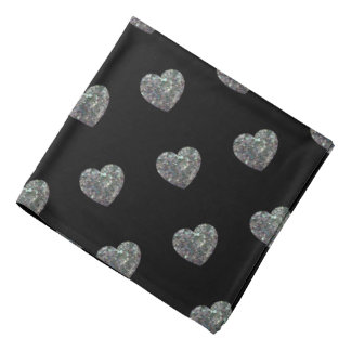 Sparkly colorful silver mosaic Heart pattern Black Bandana