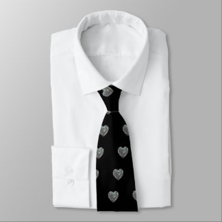 Sparkly colorful silver mosaic Heart pattern Tie