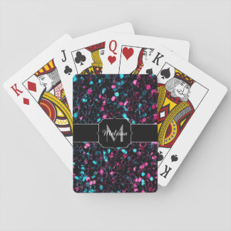 Sparkly colourful pink and blue mosaic Monogram Playing Cards