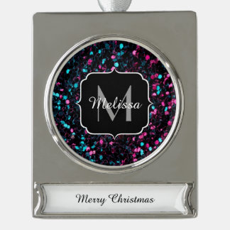 Sparkly colourful pink and blue mosaic Monogram Silver Plated Banner Ornament