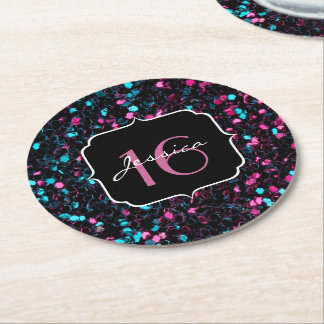 Sparkly colourful pink and blue mosaic Sweet 16 Round Paper Coaster