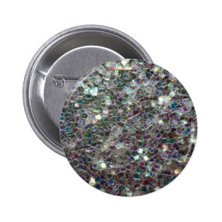 Sparkly colourful silver mosaic 6 cm round badge