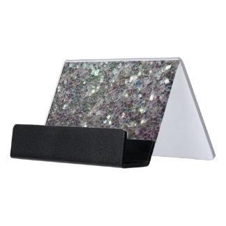 Sparkly colourful silver mosaic desk business card holder