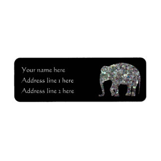 Sparkly colourful silver mosaic Elephant | Black Return Address Label