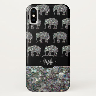 Sparkly colourful silver mosaic Elephant Monogram iPhone X Case