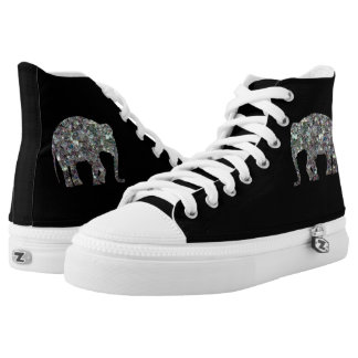 Sparkly colourful silver mosaic Elephant on Black Printed Shoes