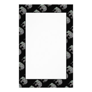 Sparkly colourful silver mosaic Elephant pattern Stationery