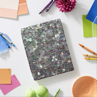 Sparkly colourful silver mosaic iPad cover