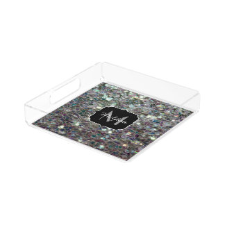 Sparkly colourful silver mosaic Monogram Acrylic Tray