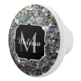 Sparkly colourful silver mosaic Monogram Ceramic Knob