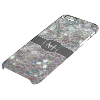 Sparkly colourful silver mosaic Monogram Clear iPhone 6 Plus Case