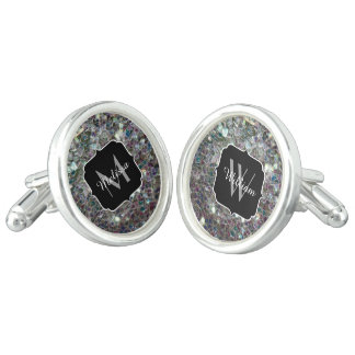 Sparkly colourful silver mosaic Monogram Cuff Links