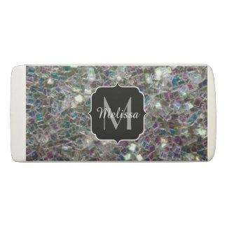 Sparkly colourful silver mosaic Monogram Eraser