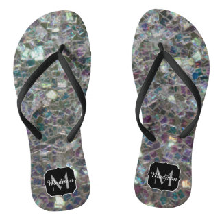 Sparkly colourful silver mosaic Monogram Flip Flops