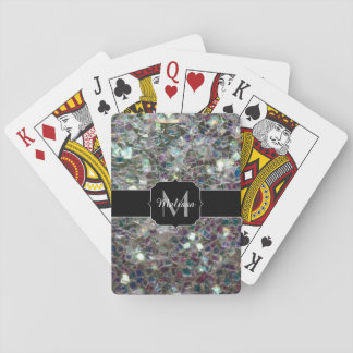 Sparkly colourful silver mosaic Monogram Poker Deck