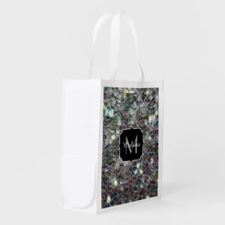 Sparkly colourful silver mosaic Monogram Reusable Grocery Bag