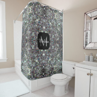Sparkly colourful silver mosaic Monogram Shower Curtain