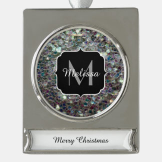 Sparkly colourful silver mosaic Monogram Silver Plated Banner Ornament