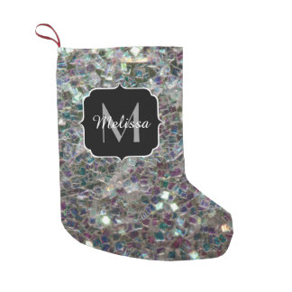 Sparkly colourful silver mosaic Monogram Small Christmas Stocking