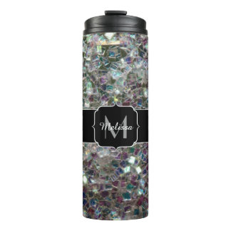 Sparkly colourful silver mosaic Monogram Thermal Tumbler