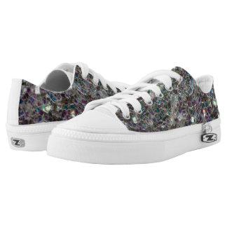Sparkly colourful silver mosaic printed shoes