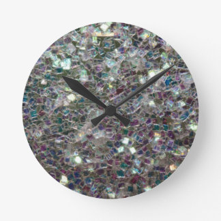 Sparkly colourful silver mosaic round clock