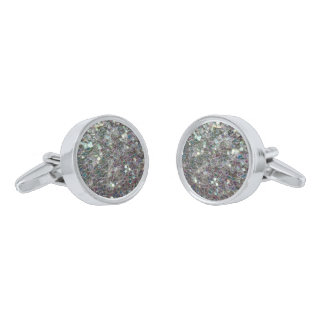 Sparkly colourful silver mosaic silver finish cuff links
