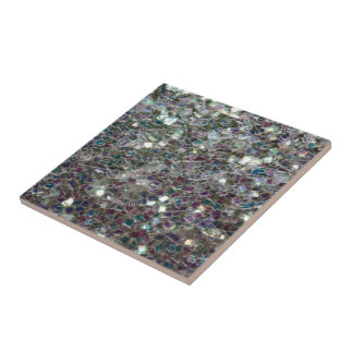 Sparkly colourful silver mosaic small square tile