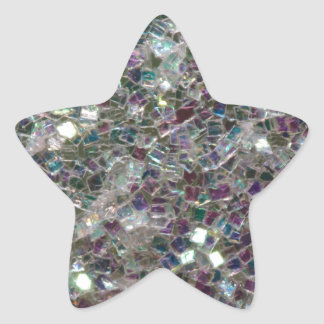 Sparkly colourful silver mosaic star sticker