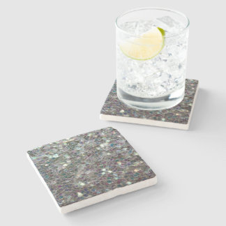 Sparkly colourful silver mosaic stone coaster