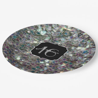 Sparkly colourful silver mosaic Sweet 16 Paper Plate