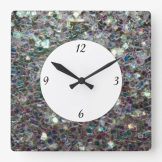 Sparkly colourful silver mosaic with numbers square wall clock