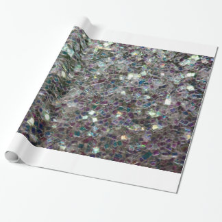 Sparkly colourful silver mosaic wrapping paper