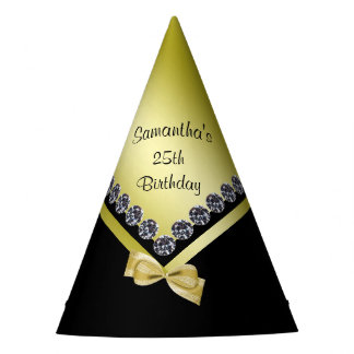Sparkly Diamonds & Gold Bow 25th Birthday Party Hat