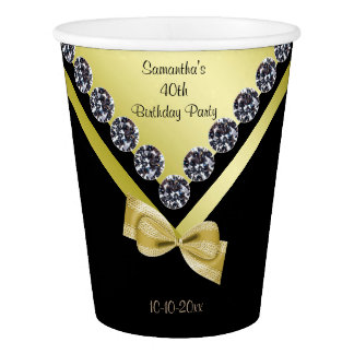 Sparkly Diamonds & Gold Bow 40th Birthday Paper Cup