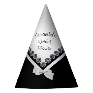 Sparkly Diamonds & Silver Bow Bridal Shower Party Hat