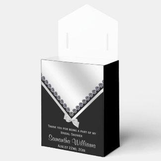 Sparkly Diamonds & Silver Bow Bridal Shower Wedding Favour Box