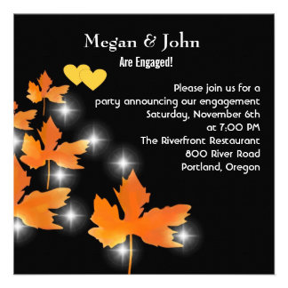 Sparkly Fall Leaves Engagement Party Invitation