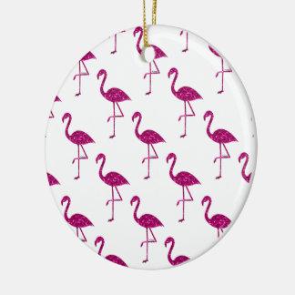 Sparkly flamingo Pink glitter sparkles pattern Christmas Ornament