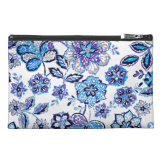 Sparkly Floral Tapestry in Blue and Purple Travel Accessories Bags