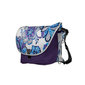 Sparkly Floral Tapestry in Blue and Purple Courier Bag