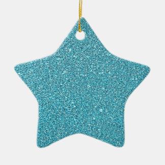 Sparkly Glitter Aqua Blue Bling Ceramic Star Decoration