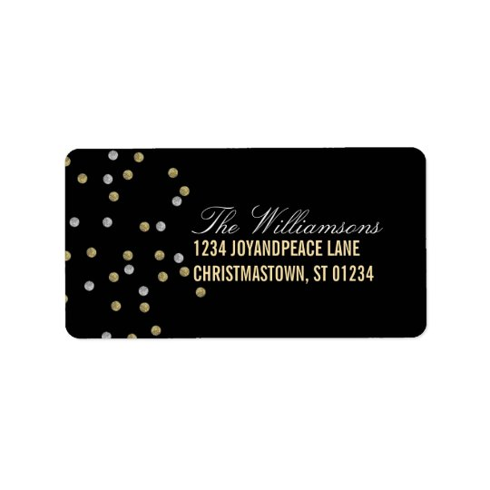 Sparkly Glitter Dots Christmas Address Labels