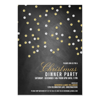 Sparkly Glitter Dots Christmas Party Invitation