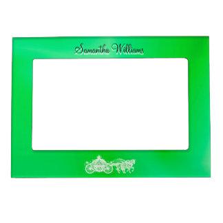 Sparkly Glitzy Green Princess Coach & Horses Photo Frame Magnets